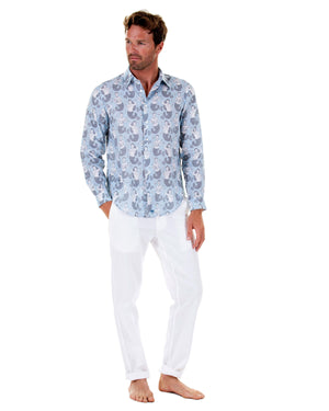 Mens Linen Shirt : MERMAID GREY / PALE BLUE Caribbean style worn with white linen trousers