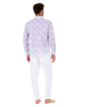 Mens Linen Shirt : MERMAID PINK / BLUE easy to wear holiday style