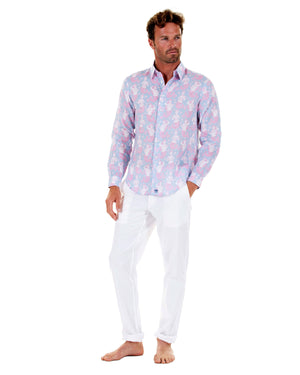 Mens Linen Shirt : MERMAID PINK / BLUE classic Caribbean style from Mustique