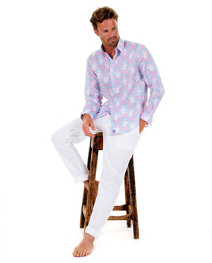 Mens Linen Shirt : MERMAID PINK / BLUE Mustique island style worn with classic white linen trousers