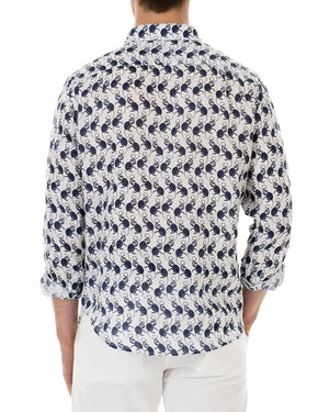 Mens Linen Shirt ~ Monkey (Navy) Back
