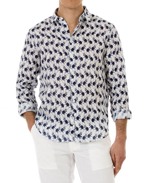 Mens Linen Shirt ~ Monkey (Navy) Front