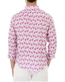 Mens Linen Shirt ~ Monkey (Pink) Back