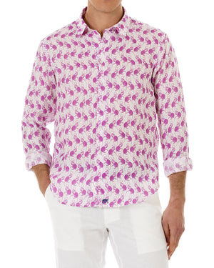 Mens Linen Shirt ~ Monkey (Pink) Front