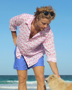 Mens Linen Shirt ~ Monkey (Pink) Mustique style