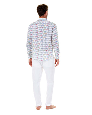 Mens Linen Shirt : MUSTIQUE MULE - MULTI back