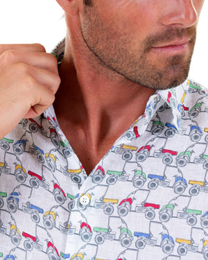 Mens Linen Shirt : MUSTIQUE MULE - MULTI collar detail