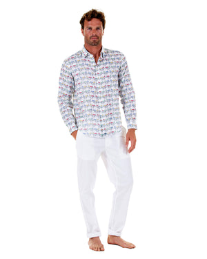 Mens Linen Shirt : MUSTIQUE MULE - MULTI front