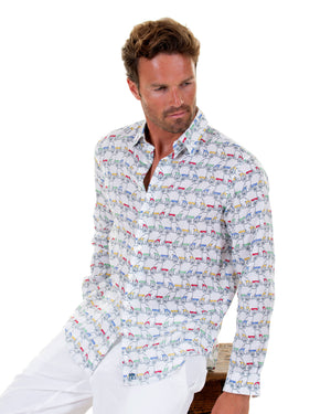 Mens Linen Shirt : MUSTIQUE MULE - MULTI Caribbean holiday wear
