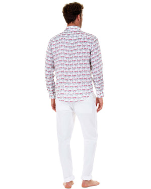 Mens Linen Shirt : MUSTIQUE MULE - RED back