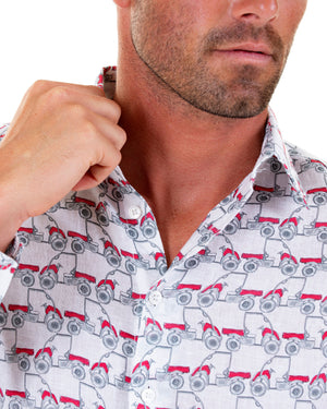 Mens Linen Shirt : MUSTIQUE MULE - RED collar detail