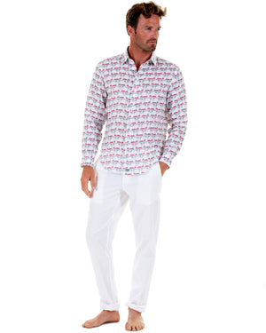 Mens Linen Shirt : MUSTIQUE MULE - RED front