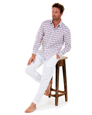 Mens Linen Shirt : MUSTIQUE MULE - RED match with white linen trousers for easy casual holiday style
