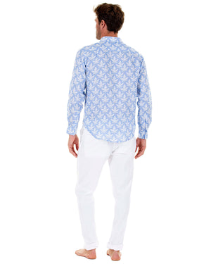 Mens Linen Shirt : PAPAYA BLUE - Back