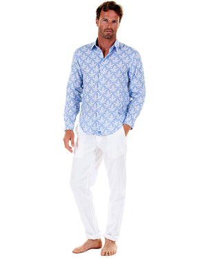 Mens Linen Shirt : PAPAYA BLUE - Front
