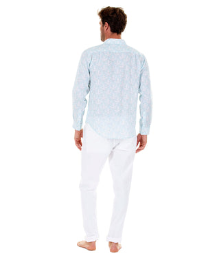 Mens Linen Shirt : PAPAYA CLEAR BLUE, Back