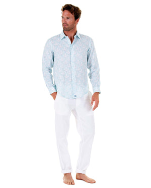 Mens Linen Shirt : PAPAYA CLEAR BLUE, Front