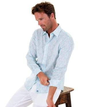 Mens Linen Shirt : PAPAYA CLEAR BLUE, rolled cuffs