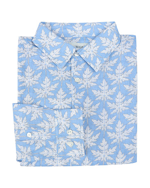 Mens Linen Shirt : PAPAYA BLUE