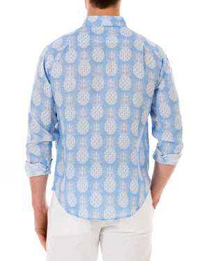 Mens Linen Shirt : PINEAPPLE - BLUE back