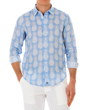 Mens Linen Shirt : PINEAPPLE - BLUE front