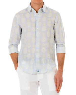 Mens Linen Shirt : PINEAPPLE - OLIVE front