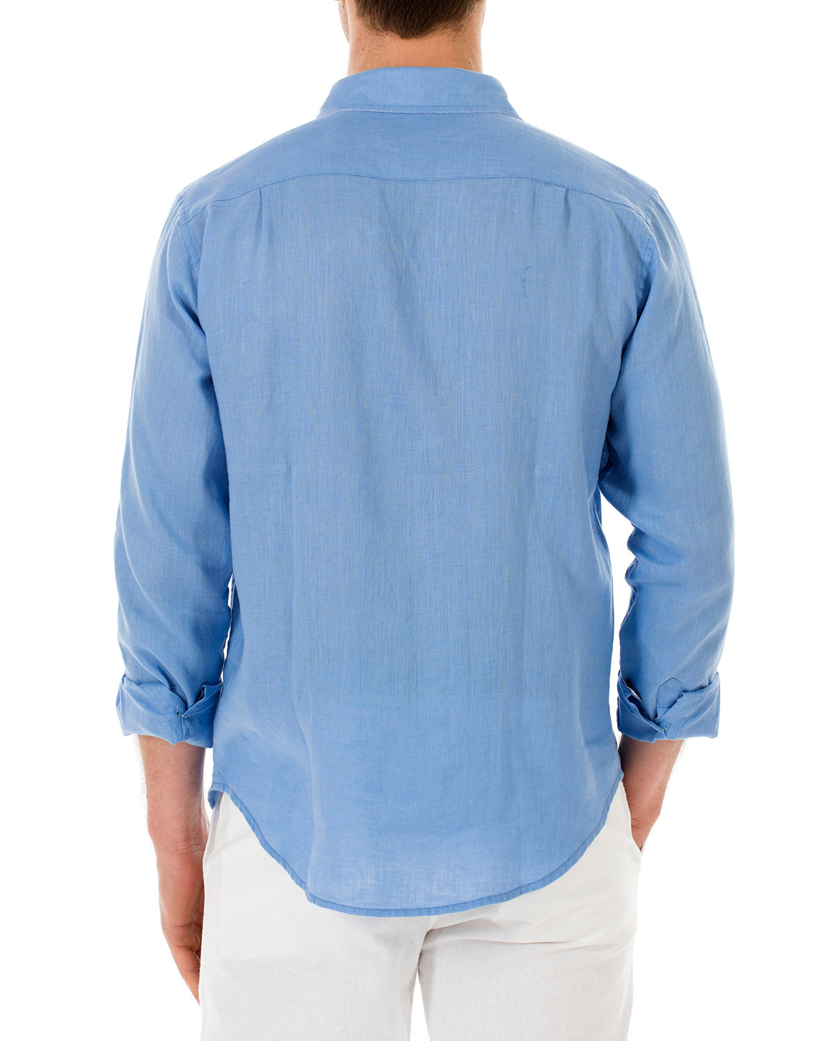 Mens Linen Shirt : FRENCH BLUE back