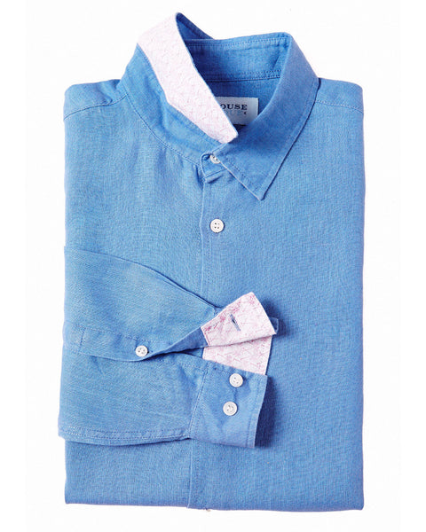 Mens Linen Shirt (Cornflower Blue)