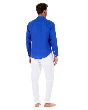 Mens designer Linen Shirt by Lotty B for Pink House Mustique in plain Dazzling Blue, Model Back