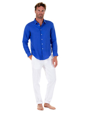 Mens designer Linen Shirt by Lotty B for Pink House Mustique in plain Dazzling Blue, Model Front