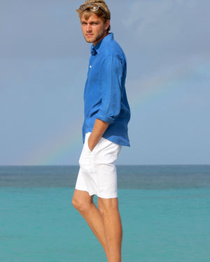 Mens Linen Shirt (Dazzling Blue) Classic Caribbean holiday wear