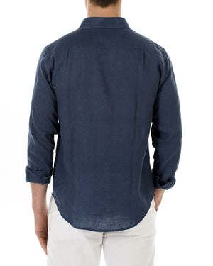 Mens Linen Shirt (Ensign Blue) Back