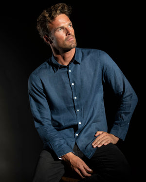 Mens Linen Shirt: ENSIGN BLUE Caribbean style holiday shirts
