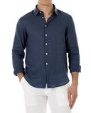 Mens Linen Shirt (Ensign Blue) Front