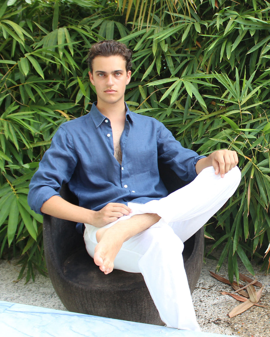 Mens designer Linen Shirt by Lotty B for Pink House Mustique in plain Ensign Blue