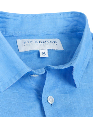 Mens Linen Shirt : FRENCH BLUE collar detail