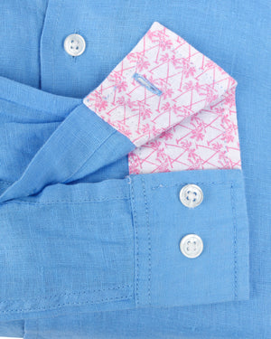 Mens Linen Shirt : FRENCH BLUE cuff detail