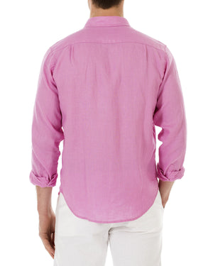 Mens Linen Shirt (Fuchsia Pink) Back