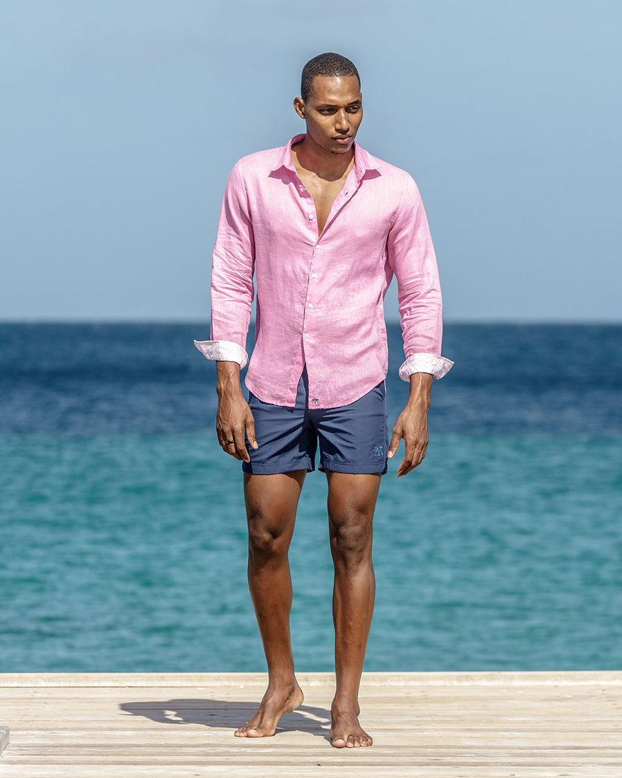 Mens designer Linen Shirt by Lotty B for Pink House Mustique in plain Fuchsia Pink