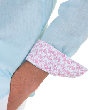 Mens designer Linen Shirt by Lotty B for Pink House Mustique in plain Pale Blue, cuff detail