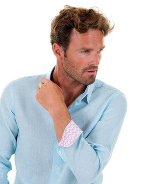 Mens designer Linen Shirt by Lotty B for Pink House Mustique in plain Pale Blue, cuff style