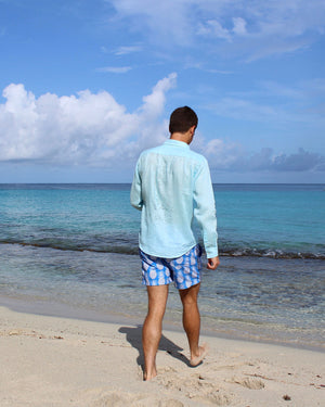 Mens Linen Shirt: PALE BLUE lifestyle back