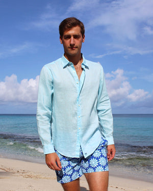 Mens Linen Shirt: PALE BLUE lifestyle front
