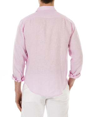 Mens Linen Shirt (Pale Pink) Back