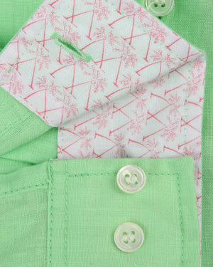 Mens Long-sleeve Linen Shirts (Pistachio Green) Detail