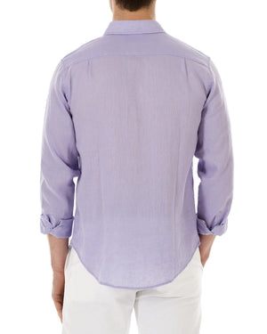 Mens Linen Shirt (Violet) Back