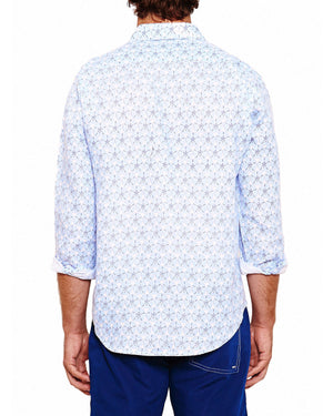Mens Linen Shirt (Sand Dollar Blue) Back