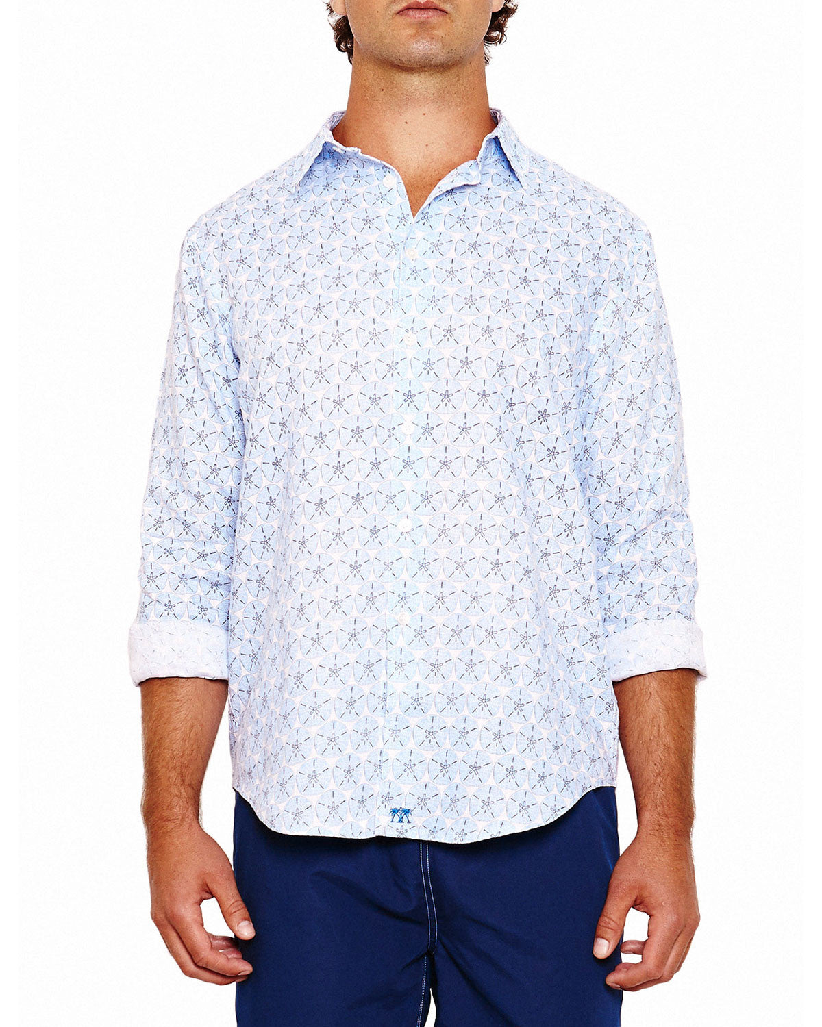 Mens Linen Shirt (Sand Dollar Blue) Front