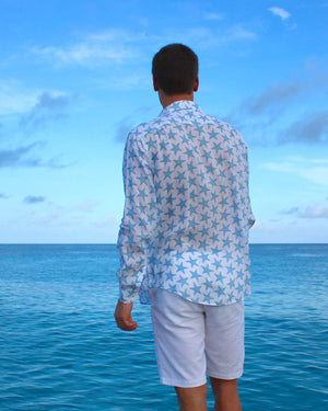 Mens Linen Shirt : SEASTAR - BLUE back Mustique life