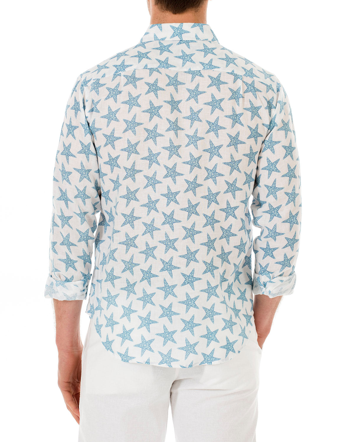 Mens Linen Shirt : SEASTAR - BLUE back
